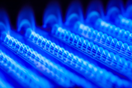 Blue flames in a furnace. High efficiency gas furnaces