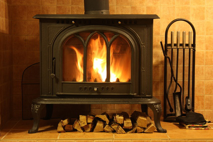 A fireplace - old school heating. High efficiency gas furnaces.